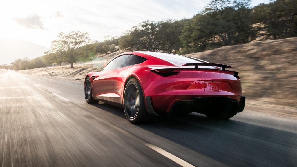 Tesla Roadster, вид на заднюю диагональ
