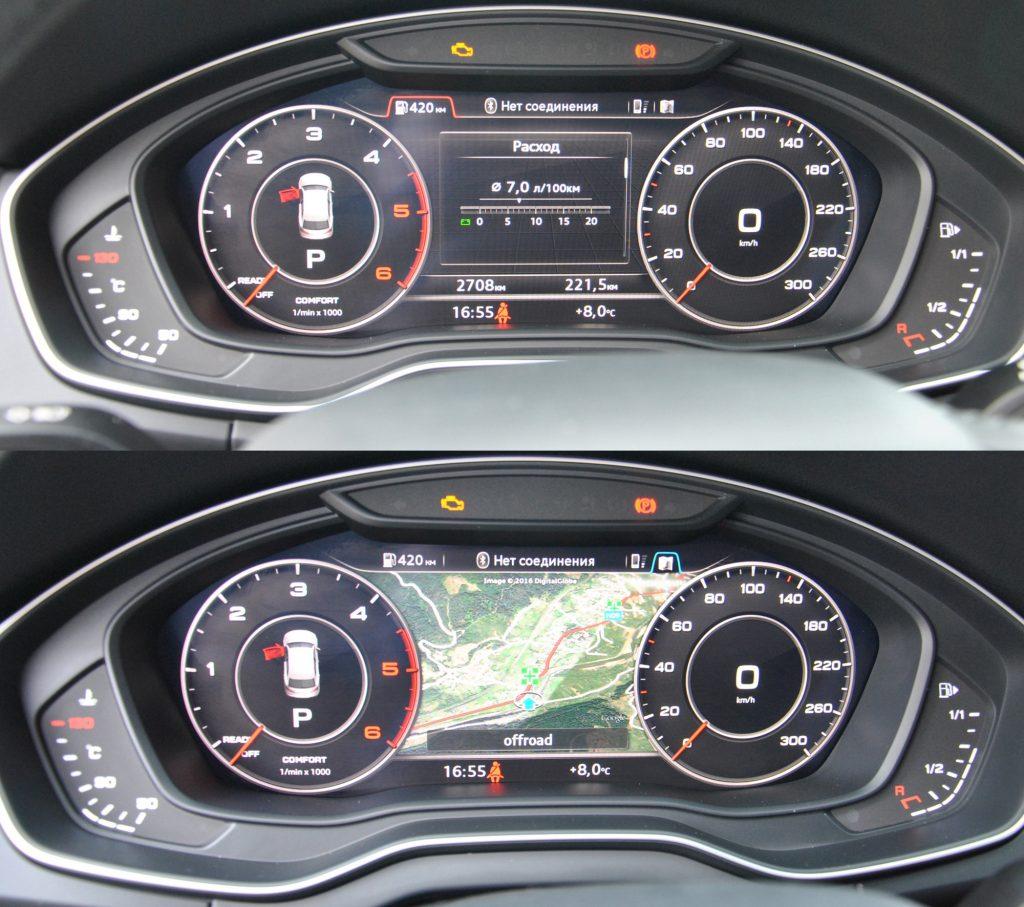 Audi Q5, цифровая панель приборов с изменяемой конфигурацией