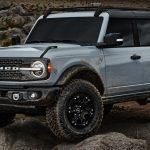 Pre-production 2021 Bronco four-door Badlands series with available Sasquatch™ off-road package in Cactus Gray in Johnson Valley, California.