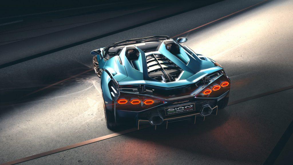 Lamborghini Sian Roadster 2020, вид сзади